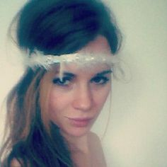 1920s White Feather Crystal Headband, Great Gatsby headband, Hippie Feather Headband. $35.00, via Etsy.