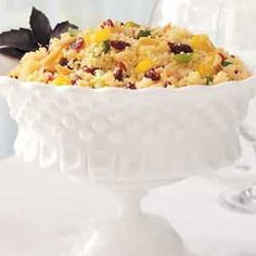 Cranberry-Nut Couscous Salad Recipe -If you're looking for something a little different to take to a carry-in dinner, try this pretty salad featuring… Raw Food Recipes, Vegetarian Recipes, Cooking Recipes, Healthy Recipes, Couscous Salad Recipes, Savory Herb, Yummy Food, Tasty, Soup And Salad