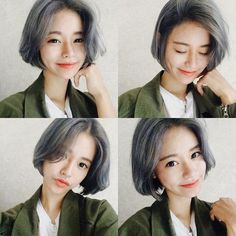 Straight bob in grey. മ◡മ more ideas for next spring.                                                                                                                                                      More