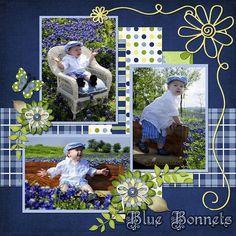 Texas Blue Bonnets, digital layout by scrap happy #scrapbooklayouts #scrapbooking101