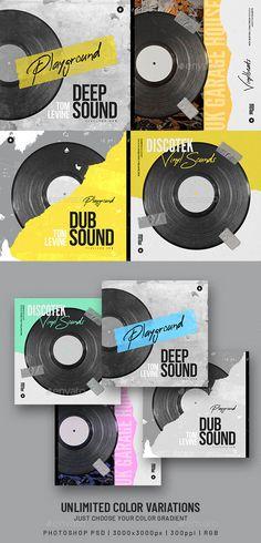 4 Vinyl Beats Music Album Cover Templates PSD. Size 3000×3000 px