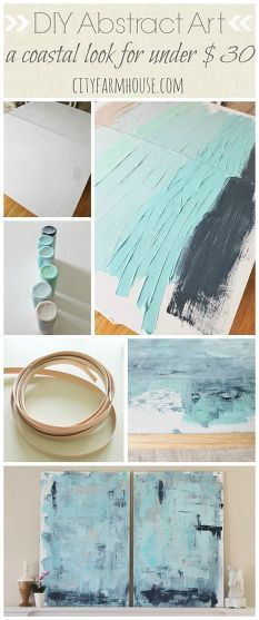 DIY Abstract Art-A Coastal Look For Under $30