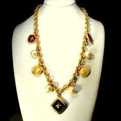 Shades of Brown and Black Vintage Multi Strand Beaded Statement Necklace with Divider Medallions