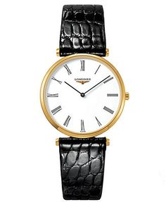 Longines Watch, Men's Swiss La Grande Classique Black Alligator Leather Strap 33mm L47092112