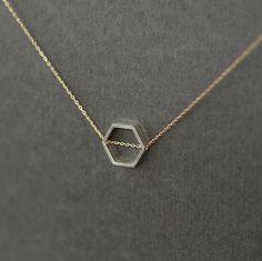 Honeycomb Necklace Hexagon Mixed Metal Geometry Sliding Handmade Jewelry Black Friday Etsy Cyber Monday Etsy. $47.00, via Etsy.