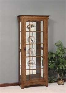 Amish Mission Style Single Door Curio Cabinet