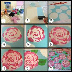 Painting roses: Sorority Series- How to Paint Lilly Pulitzer Flowers Rosen malen: Sorority-Serie - Wie Lilly Pulitzer Blumen malen Cuadros Diy, Diy And Crafts, Arts And Crafts, Sorority Canvas, Sorority Paddles, Sorority Recruitment, Sorority Life, Cooler Painting, Sorority Crafts