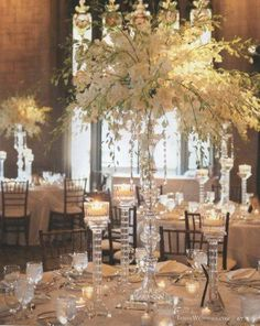 Orchid Centerpieces with crystal candelabras