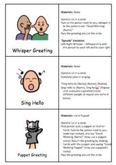 This document contains pictures and directions for 18 Morning Meeting Greetings. Many of these greeting are taken from the Morning Meeting Book, part of the Responsive Classroom series.