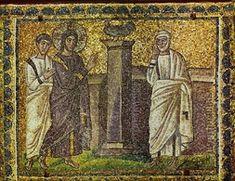 Basilica di Sant'Apollinare Nuovo, Ravenna. Mosaici dell'inizio del VI secolo. Annuncio della negazione di Pietro. Il periodo di Teodorico