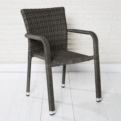 Gartenstuhl Aluminium stapelbar Polyrattan grau Stapelstuhl Gartenstühle Stühle