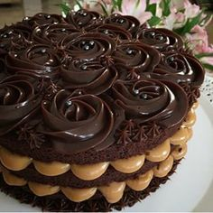 - Layers of dark chocolate cake and Nutella buttercream topped with chocolate ganache! Nutella Chocolate Cake, Chocolate Cake Recipe Easy, Dark Chocolate Cakes, Just Desserts, Delicious Desserts, Yummy Food, Gourmet Cakes, Waffle Cake, Just Cakes
