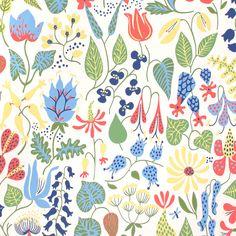Färgglada blommor och gröna blad med vit bakgrund. Herbarium, ett mönster ritat för tyg på 50-talet, av en av våra mest mångsidiga konstnärer Stig Lindberg. Perfekt till funkisköket och härligt välkomnade i en ljus hall.