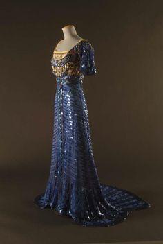 Evening Dress, 1909, Callot Soeurs, Paris, Silk mesh embellished with celluloid sequins and paste gems, Gregg Museum of Art & Design, 2003.014.208