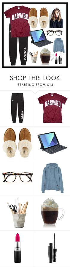 """""""Work From Home by: Fifth Harmony"""" by jpc51105 ❤ liked on Polyvore featuring adidas, UGG, Samsung, MANGO, ESSEY, MAC Cosmetics and setsInspiredBySongs"""