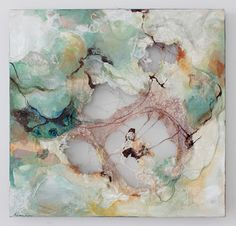 Deeann Rieves: Stirring Machine embroidery, fabric, canvas, and mixed media on cut wood panel