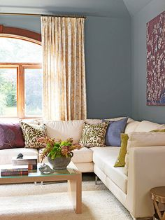 Gray Meets Purple--I love the lushness of this room with hits of moss green, plum, and buttery yellow