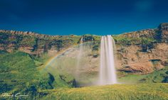 Seljalandsfoss dressed with rainbow