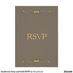 Sandstone Gray and Gold RSVP Card