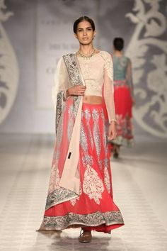 Varun Bahl at India Couture Week - cream pink lehnga