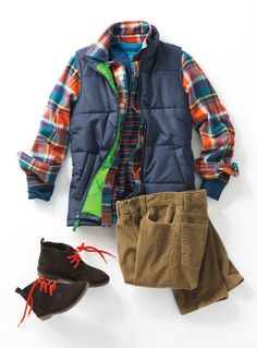 Fall Style for Boys   Down Vest, Cords, Chukka Boots, Plaid Shirt, Graphic Tee   Lands' End