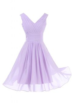 Sunvary Elegant V Neckline Chiffon Cocktail Party Dresses Bridesmaid Dresses Short - US Size 16- Lilac