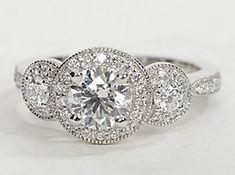gorgeous three-stone ring, round diamonds pave-set in 14k white gold