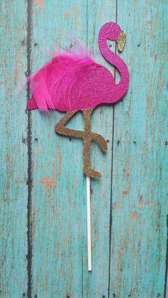 Pink Flamingo Cake Topper by LemonSugarStudios on Etsy