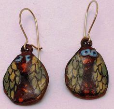 Enamel Little Owl earrings by LindaGissen on Etsy