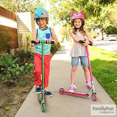 Happy Head Gear: Make safety fun with stick-on (and peel-off) mohawk and cat helmet decorations.