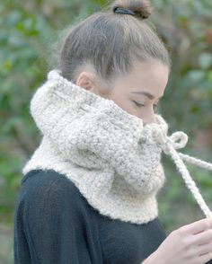 The Willow Drawstring Cowl Scarf READY TO SHIP by DreamFreeDesigns