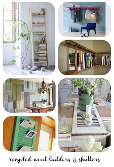Recycled wood ladders, recycled wood shutters