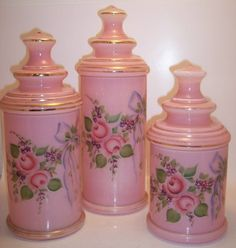 Vintage Victorian Pink Glass Vanity Canister Set/ not necessarily depression glass but very pretty none the less.