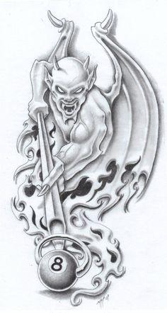 8 Ball by markfellows on DeviantArt - hiryu Blitz - . - 8 ball by markfellows on DeviantArt – hiryu Blitz – - Tattoo Design Drawings, Skull Tattoo Design, Tattoo Sketches, Art Sketches, Tattoo Designs, Evil Tattoos, Skull Tattoos, Body Art Tattoos, Sleeve Tattoos