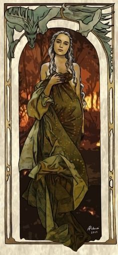 Daenerys Targaryen by =AlessiaPelonzi on deviantART // ala Alphonse Mucha