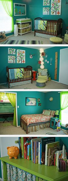 teal and lime nursery, bedroom ideas, home decor, painted furniture, Thrifted crib hand built changing table converted vintage tv bookcase and a hand built bed and nightstand