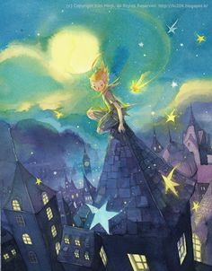 """The collection of tender illustrations for the children's books from Kim Minji, an illustrator from South Korea: new look at """"The Little Prince"""", """"Peter Pan"""" and others. Disney Kunst, Arte Disney, Disney Art, Disney Songs, Disney Quotes, Peter Pan, Kim Min Ji, Jm Barrie, The Little Prince"""