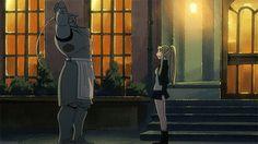 That awkward moment when your arm falls off. | Alphonse Elric & Winry Rockbell | Fullmetal Alchemist Brotherhood | FMAB | Anime | (gif)