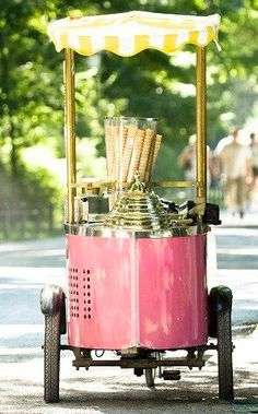 Ice cream cart. Do you mean one like this? where would we get that from? Would you be willing to settle for an ice cream van that would serve us 99s? Not exactly classy but hey, it's still ice cream.