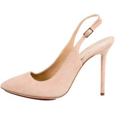 Pre-owned Charlotte Olympia Monroe Slingback Pumps featuring polyvore, women's fashion, shoes, pumps, pink, slingback shoes, suede pointed toe pumps, pointed-toe pumps, pink pumps and pink suede shoes