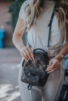 Demi Bang opening the Louis Vuitton Palm Springs PM backpack. Louis Vuitton Key Pouch, Louis Vuitton Backpack, Louis Vuitton Handbags, Louis Vuitton Monogram, Louis Backpack, Palm Springs Mini Backpack, Tote Bags For School, Backpack Outfit, Luxury Bags