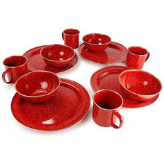 GSI Outdoors Pioneer 4-Person Camp Dinnerware Set, Red (£41) ❤ liked on Polyvore featuring home, kitchen & dining, dinnerware, red, red dinnerware, round plate, colored plates, wizard of oz plates and colored dinnerware