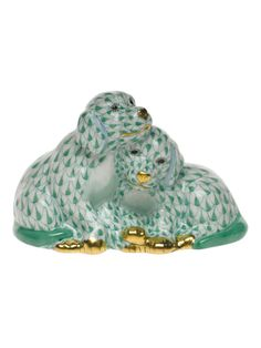 """Herend two puppies in Green Fishnet Design 4""""L X 2.5""""H Hand Painted Porcelain Figurine Gold Accents."""