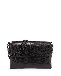 Crocodile Small Flap Shoulder Bag, Black by Nancy Gonzalez at Neiman Marcus.
