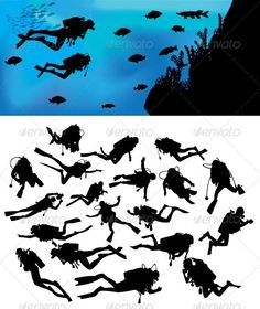 Scuba Diving Silhouettes This is nice and high detail vector. In this files include AI and EPS versions. You can open it with Adobe Illustrator CS and other vector supporting applications. Scuba Diver Tattoo, Tatto Mini, Dove Tattoos, Under The Sea, Painted Rocks, Illustration, Ocean, Drawings, Artwork
