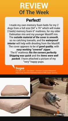 Thank you, Sugee, for your kind words! We love hearing stories like this and seeing happy dogs using our 4Knines covers!