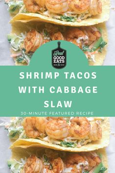 These shrimp tacos are perfect for a busy weeknight meal. This recipe is really simple to make and delicious! One Pan Dinner Recipes, Healthy Dinner Recipes, Mexican Food Recipes, Shrimp Recipes, Healthy Weeknight Dinners, Quick Easy Meals, Cabbage Slaw, Shrimp Tacos, Food Reviews
