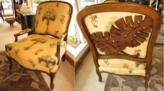 PAIR OF 2 DREXEL HERITAGE FRENCH BERGERE CHAIRS WITH A TROPICAL TOMMY BAHAMA TWIST