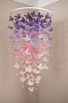 Butterfly Baby Room, Butterfly Mobile, Butterfly Birthday, Butterfly Centerpieces, Diy Butterfly Decorations, Purple Room Decorations, Birthday Room Decorations, Girl Nursery, Girl Room