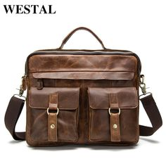 0e2b4578be6a 2016 New Genuine Leather Men Bag Crazy Horse Leather Men's Handbags Casual  Business Laptop Shoulder Bags Briefcase Messenger bag